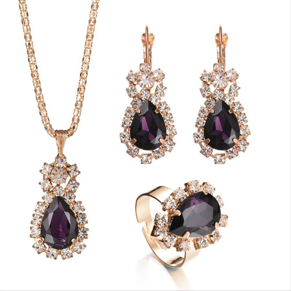 1 Set Fashion Romantic charm Elegant Teardrop Crystal Rhinestone Metal Pendant Gold Plated Chain Necklace Earrings Rings