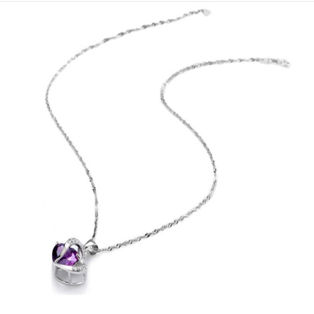 Sterling Silver Faux Crystal Gemstone Amethyst Heart Pendant Necklace