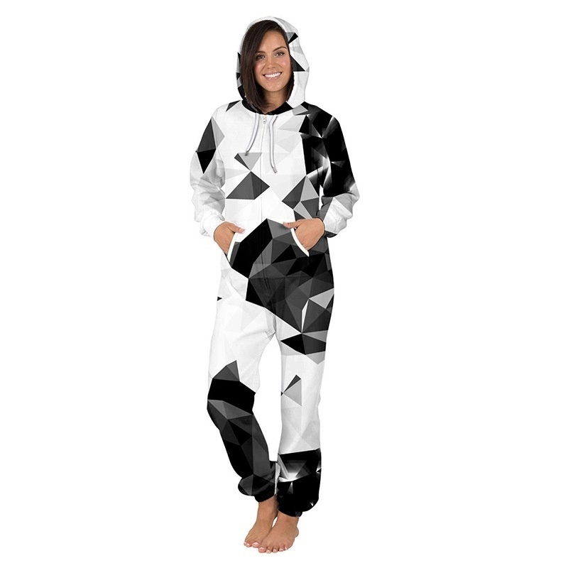 ba762f0cfb1 Generic New Stylish Black White Geometry Print Rompers for Men and ...