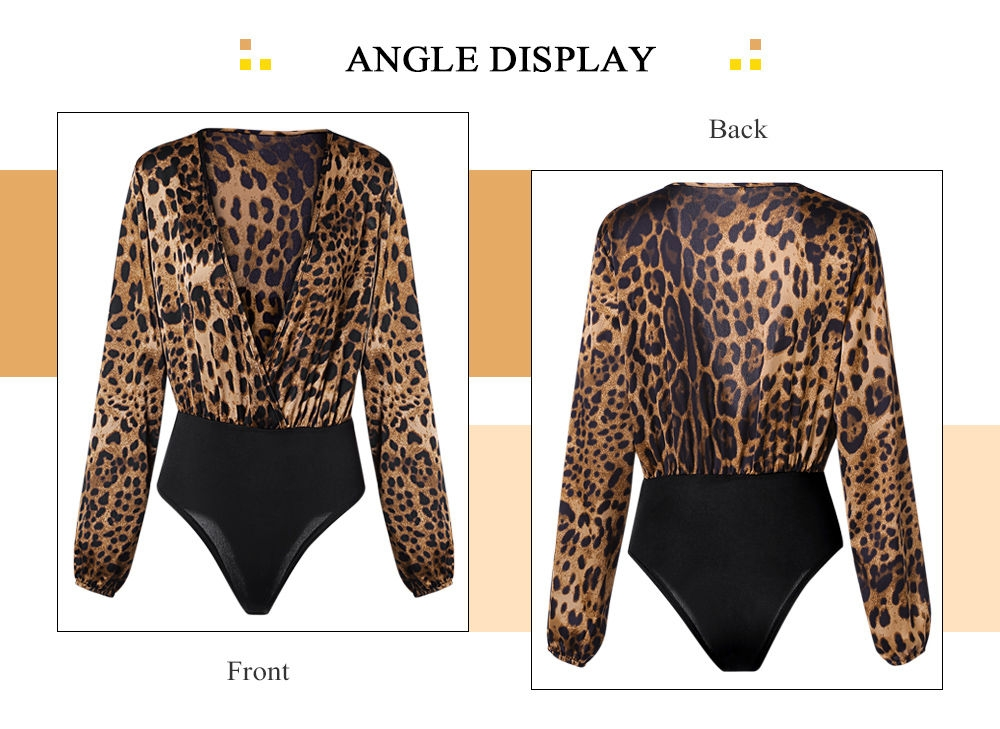 c17532d52e5b ... Sexy Jumpsuit Women Long Sleeve Romper V Neck Leopard Print Overall ...