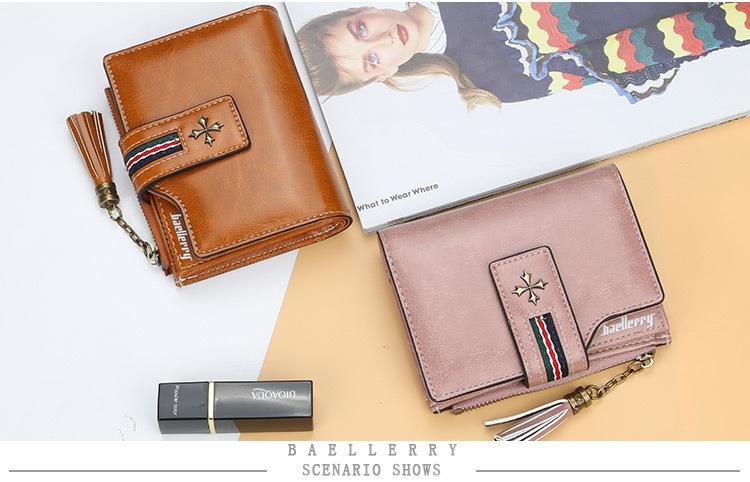 Oil Wax Leather Ladies Wallet Women Short Zipper Ladies Coin Purse Card Holder Femme bag black one size 8