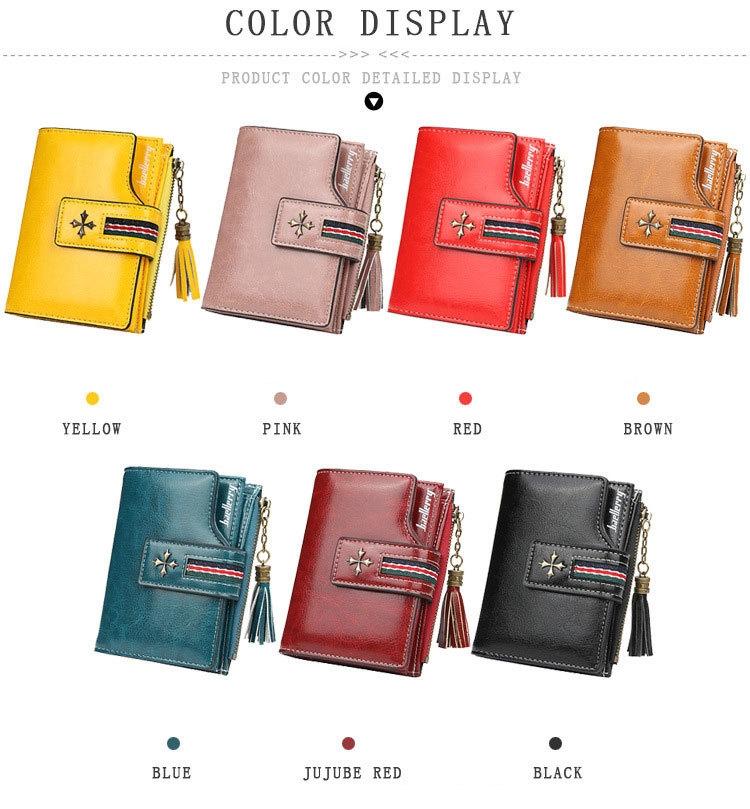 Oil Wax Leather Ladies Wallet Women Short Zipper Ladies Coin Purse Card Holder Femme bag black one size 1