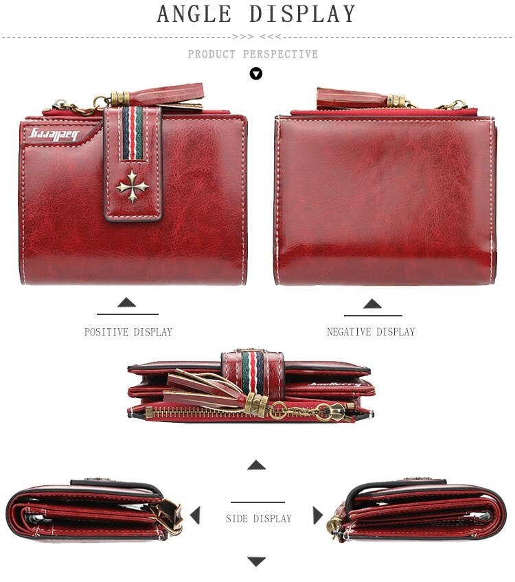 Oil Wax Leather Ladies Wallet Women Short Zipper Ladies Coin Purse Card Holder Femme bag black one size 3