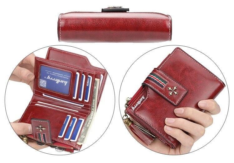 Oil Wax Leather Ladies Wallet Women Short Zipper Ladies Coin Purse Card Holder Femme bag black one size 4