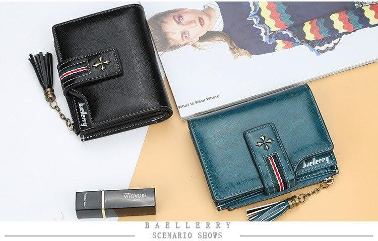 Oil Wax Leather Ladies Wallet Women Short Zipper Ladies Coin Purse Card Holder Femme bag black one size 7
