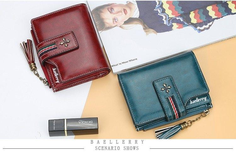Oil Wax Leather Ladies Wallet Women Short Zipper Ladies Coin Purse Card Holder Femme bag black one size 9