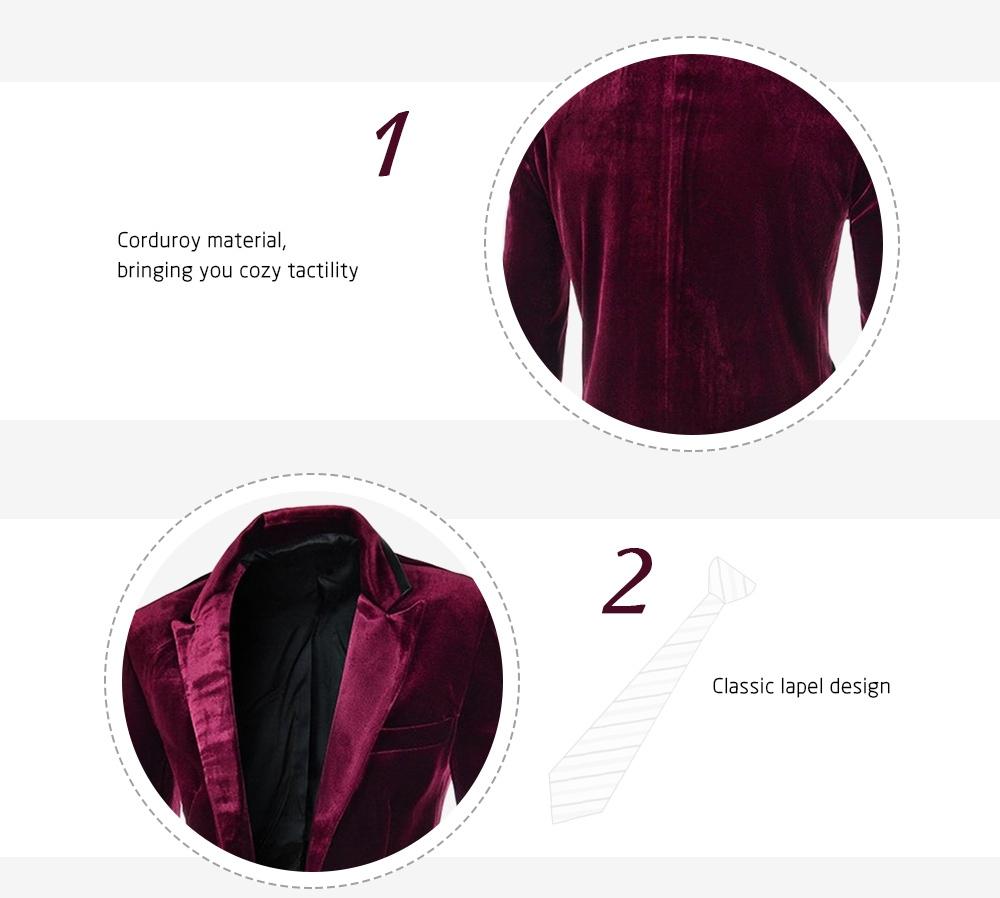 Fashion Lapel Pocket Edging Design Slimming Long Sleeve Corduroy Blazer For Men