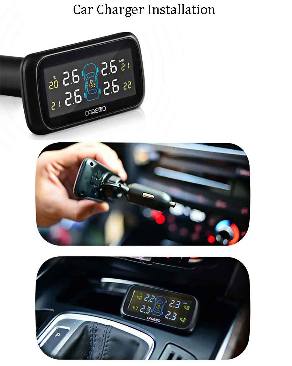 U903 433.92MHz Wireless TPMS Tire Pressure Monitoring System 4 External Sensors