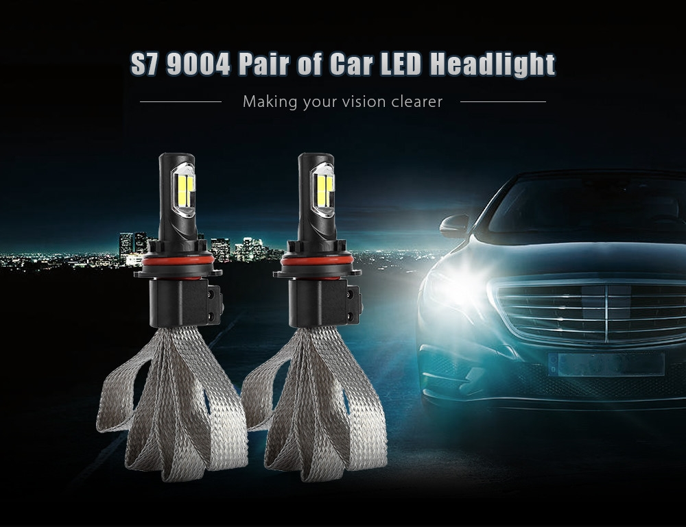 S7 9004 72W 8000LM Pair of Car LED Headlight 6000K Auto Front Lamp