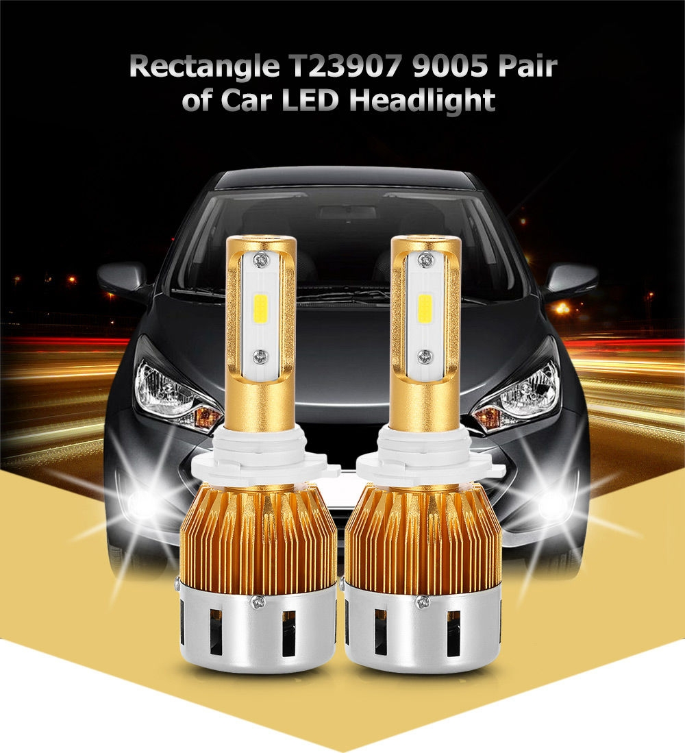 Rectangle T23907 9005 40W 4800LM Pair of Car LED Headlight 6000K Auto Front Lamp