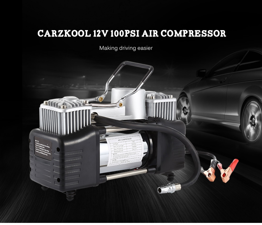 carzkool Portable 12V 100PSI Air Compressor Inflatable Pump