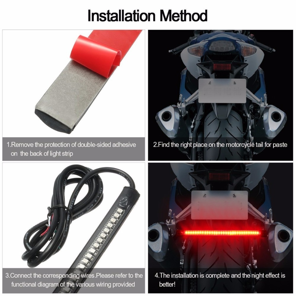 Buy Generic Universal Motorcycle Car Rear Tail Brake Stop Turn Led Blinker Wiring Diagram Signal 48 Smd Light Strip