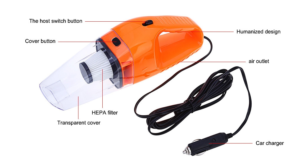 Portable High Power 120W Car Vacuum Cleaner Wet Dry Aspirador Dual-use Super Suction