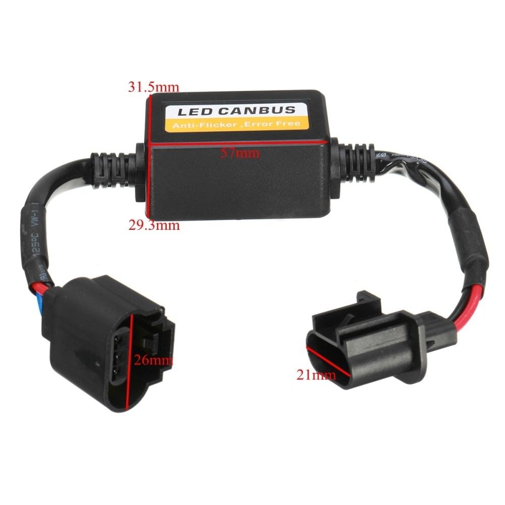 2x H13 9008 LED Headlight Bulb Canbus Error Free Anti Flicker Resistor Canceller