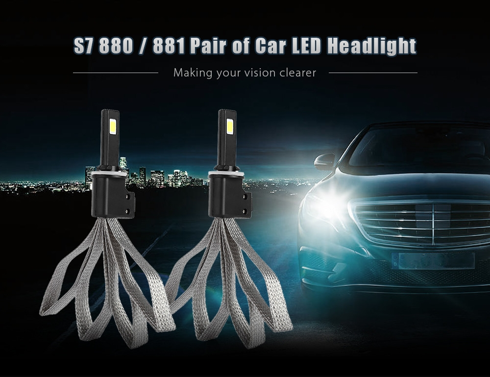 S7 880 / 881 60W 6400LM Pair of Car LED Headlight 6000K Auto Front Lamp