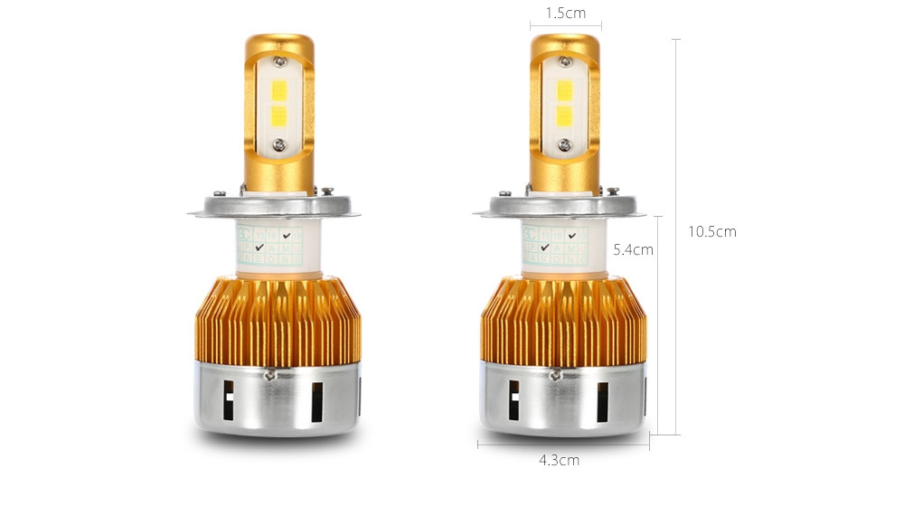 Rectangle T23909 H4 60W 6000LM Pair of Car LED Headlight 6000K Auto Front Lamp