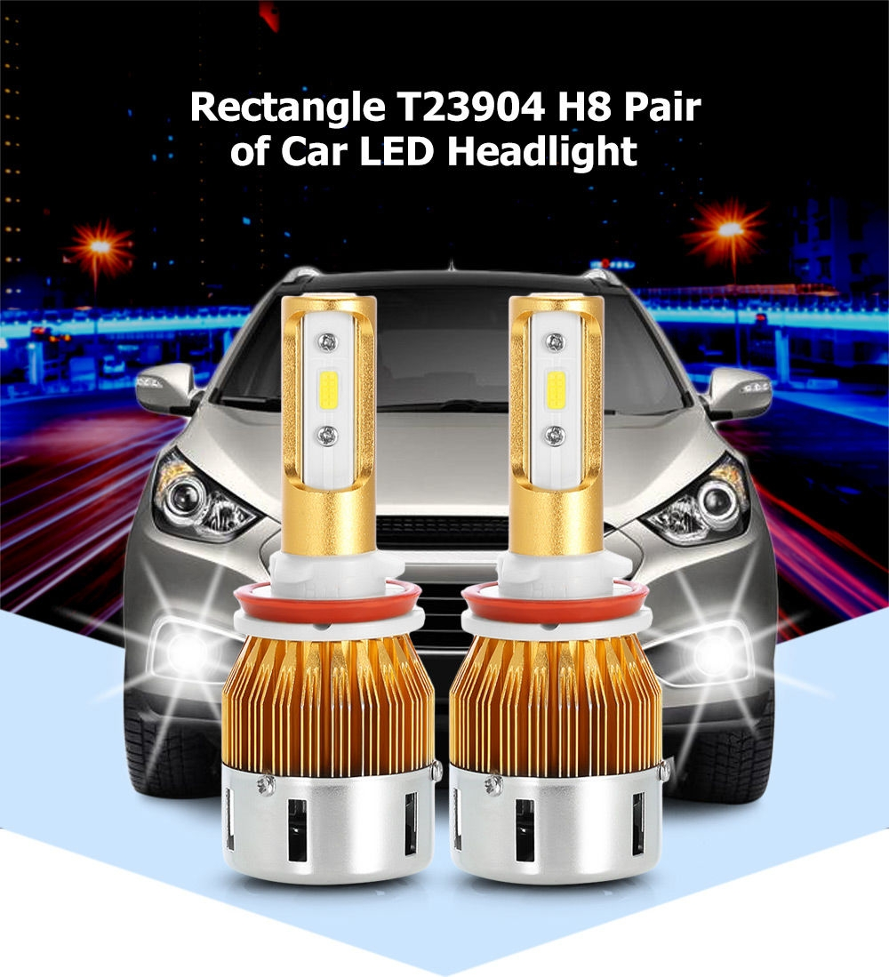 Rectangle T23904 H8 40W 4800LM Pair of Car LED Headlight 6000K Auto Front Lamp