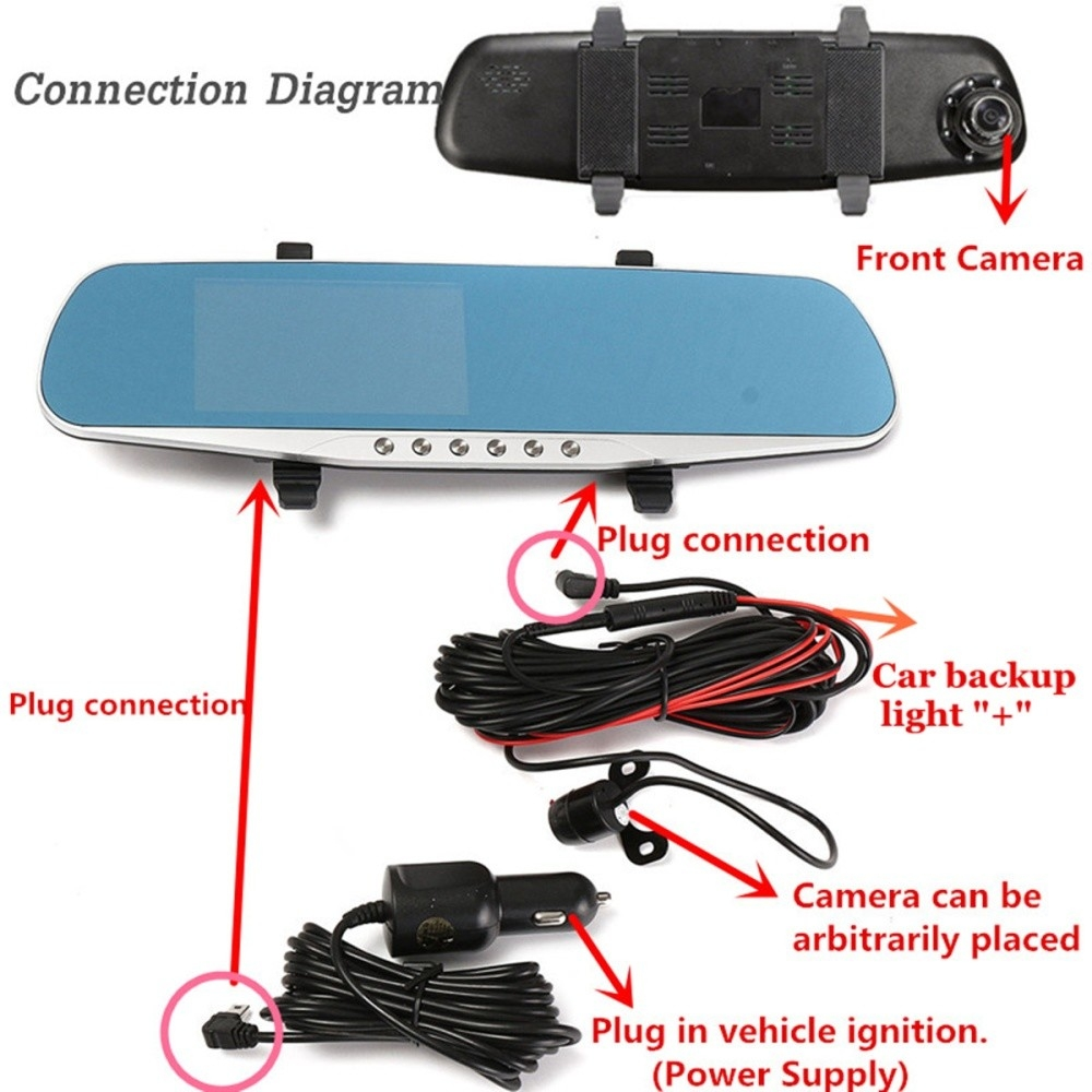 Buy Generic 43 Rear View Mirror Monitor Hd 1080p Car Dvr Camers Camera Wiring Diagram 1 X Charger Rearview Cable Tools Set Bilingual User Manual