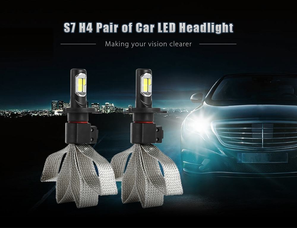 S7 H4 72W 8000LM Pair of Car LED Headlight 6000K Auto Front Lamp