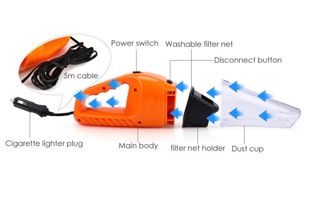 12V 120W Car Vacuum Cleaner Handheld Wet Dry Dual-use Dust Cleaner 4.5m
