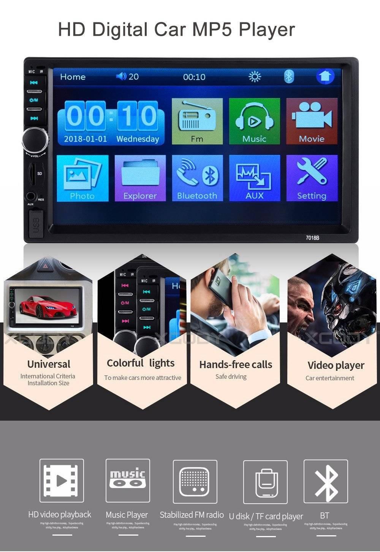 Generic Car Stereo Radio Bluetooth MP3 MP5 Player USB AUX