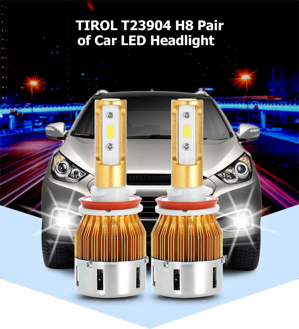 TIROL T23904 H8 40W 4800LM Pair of Car LED Headlight 6000K Auto Front Lamp