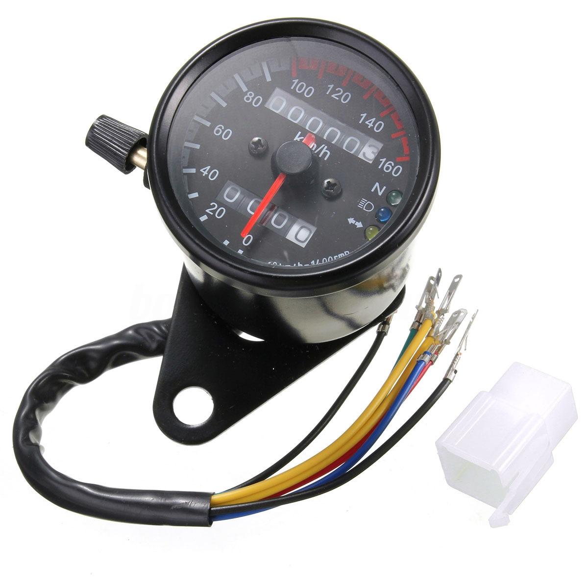 Generic Motorcycle Dual Odometer Speedometer Gauge LED Backlight
