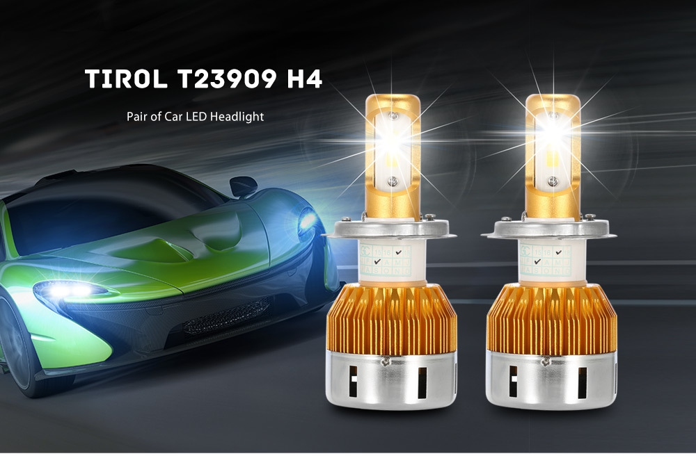 TIROL T23909 H4 60W 6000LM Pair of Car LED Headlight 6000K Auto Front Lamp