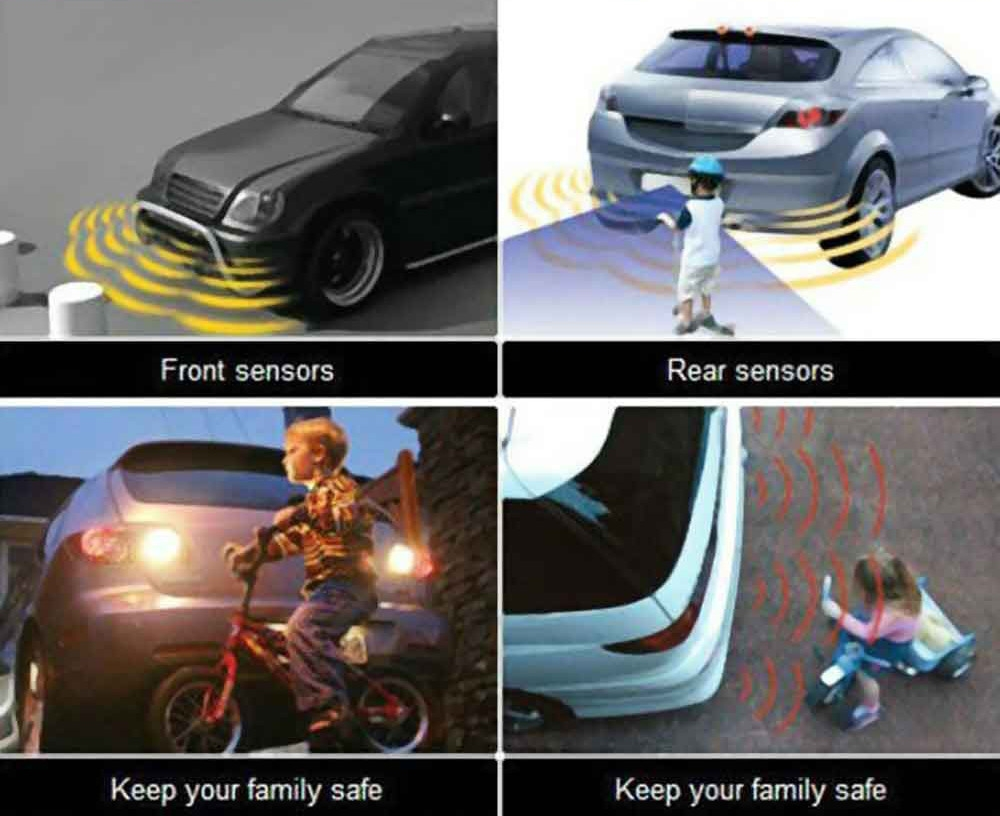 Car Vehicle Radar Parking System Buzzing Voice Alert LED Display Distance Detection with 4 Sensors