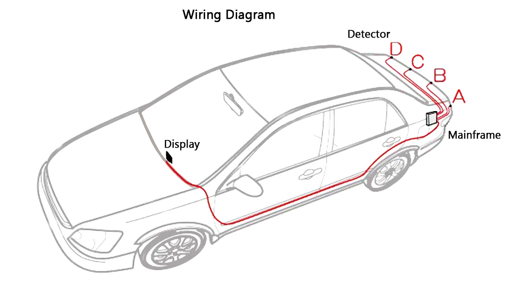 4 Parking Sensor Auto Reversing Detector with Digital Display
