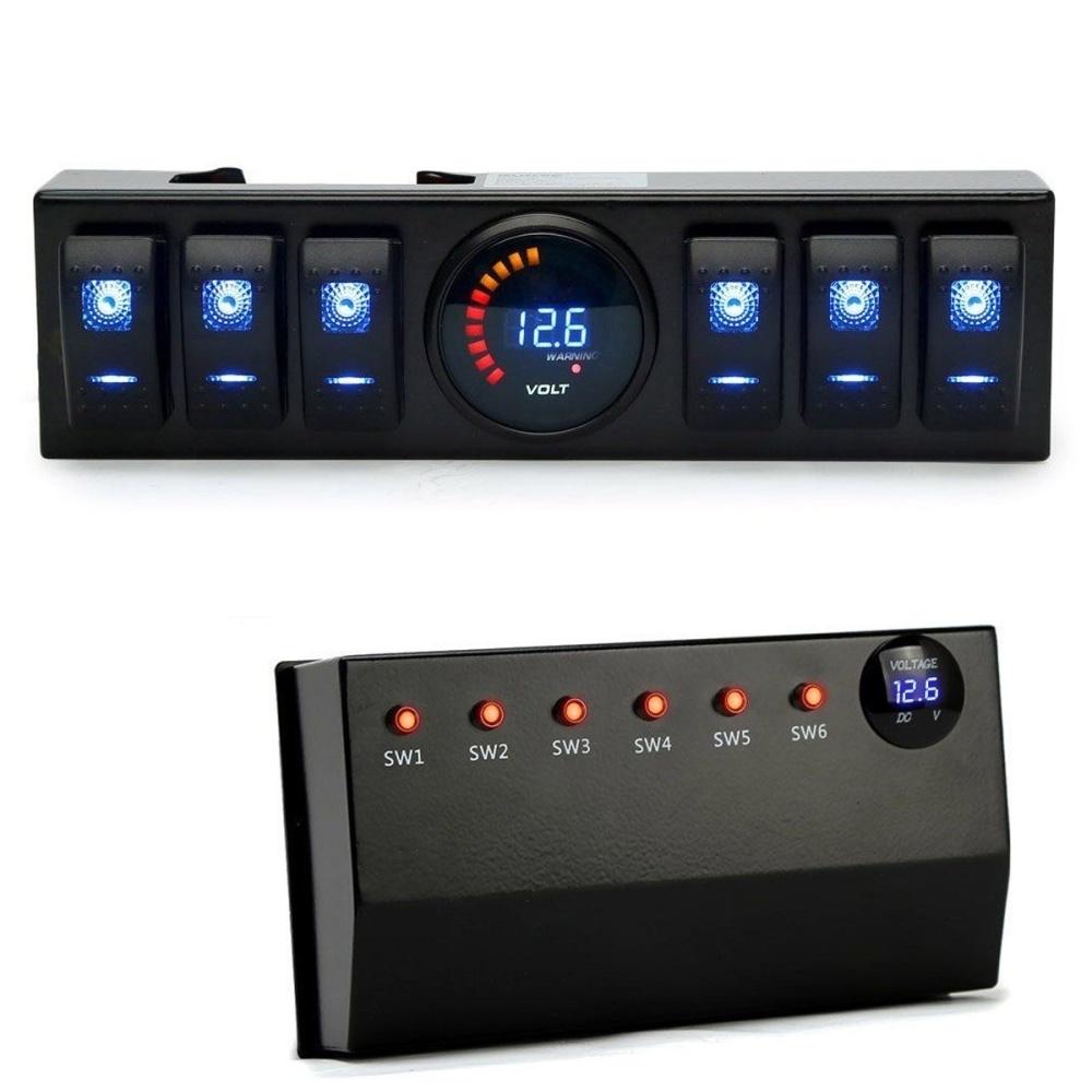 Buy Generic Blue 6 Rocker Switch Panel Cotrol Bracket Digital Sw2 Fuse Box Image