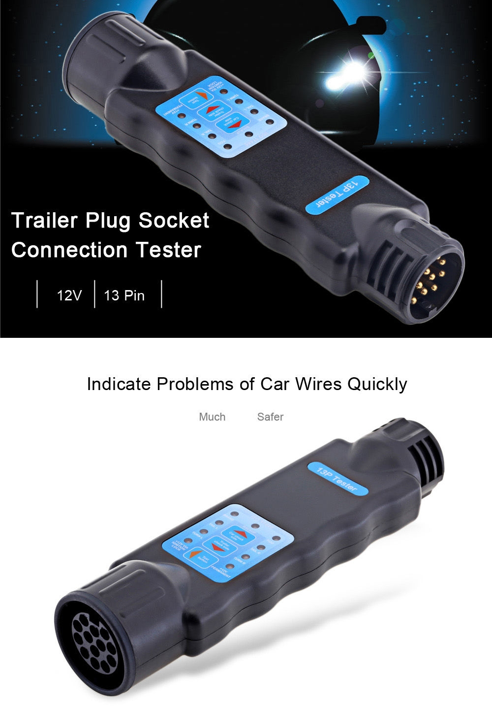 T23331 13 Pin Trailer Plug Socket Connection Tester Vehicle Diagnostic Tool