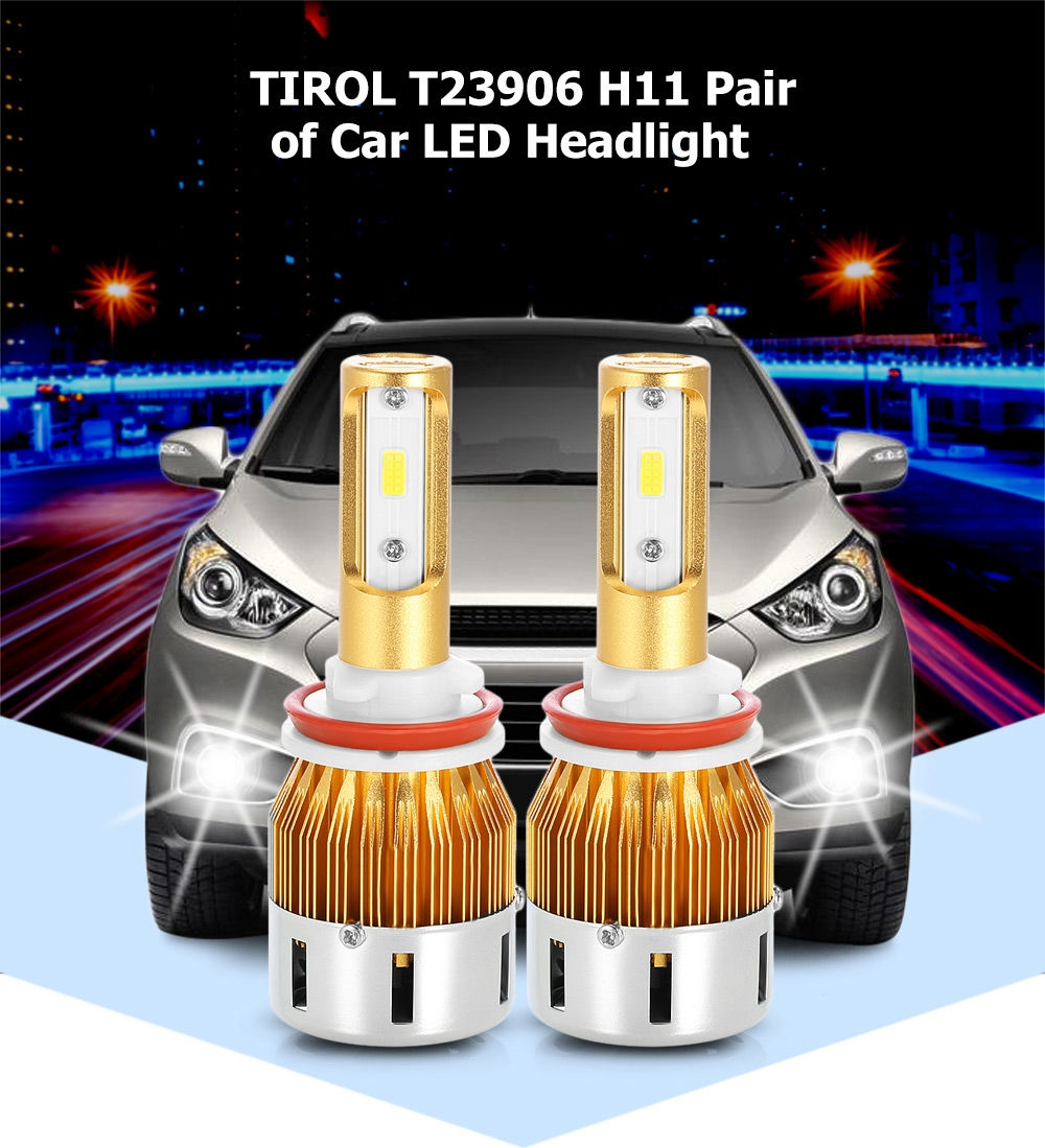 TIROL T23906 H11 40W 4800LM Pair of Car LED Headlight 6000K Auto Front Lamp