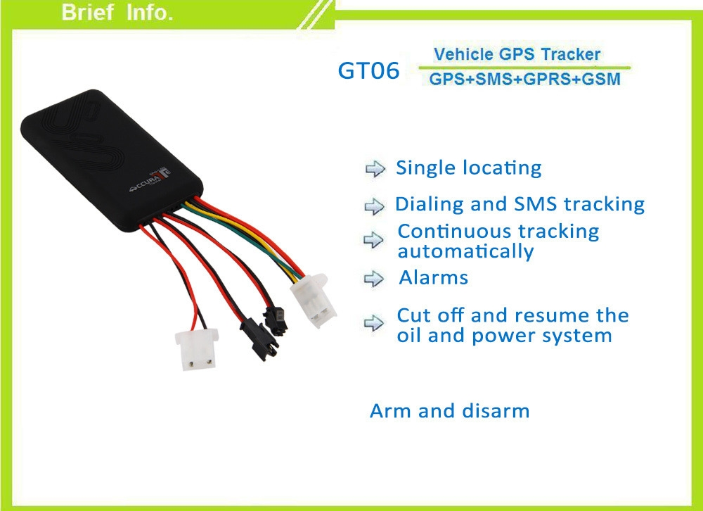GT06 GPS SMS GPRS Vehicle Tracker Locator Remote Control Tracking Alarm with 24V Relay