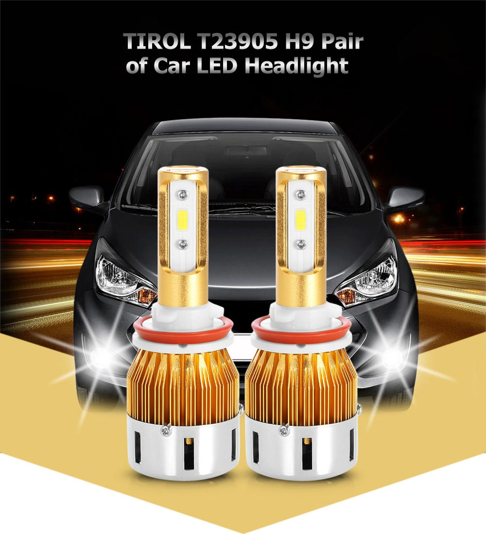 TIROL T23905 H9 40W 4800LM Pair of Car LED Headlight 6000K Auto Front Lamp