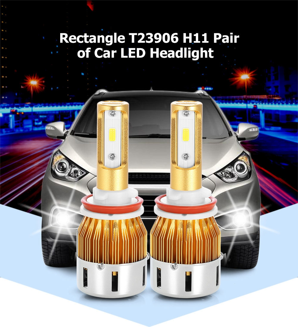 Rectangle T23906 H11 40W 4800LM Pair of Car LED Headlight 6000K Auto Front Lamp
