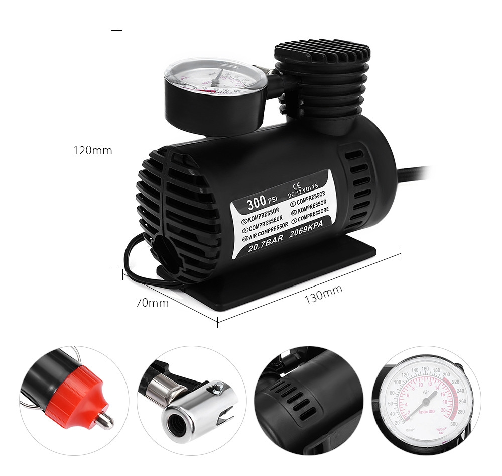Universal 12V 300PSI Portable Mini Car Tire Inflator Pointer Table Air Compressor Pump for Motorcycle Bicycle