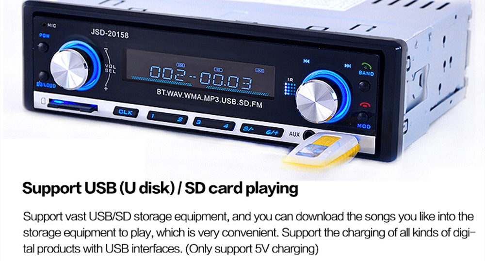 JSD - 20158 12V Bluetooth V2.0 Car Stereo Audio In-dash Single Din FM Receiver Aux Input Receiver USB MP3 MMC WMA Radio Player