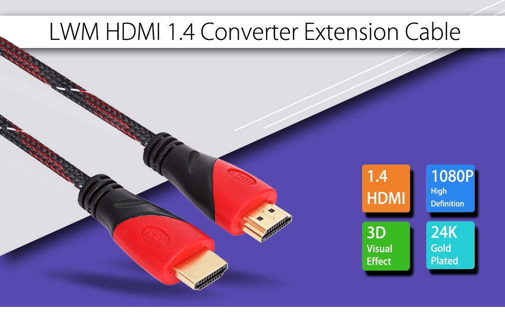 LWM High Speed Braided HDMI 1.4 Cable HD 1080P 3D