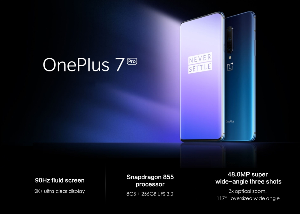 OnePlus 7 Pro 4G Phablet 6.67 inch Android 9.0 Snapdragon 855 Octa Core 2.84GHz 8GB RAM 256GB ROM 48.0MP + 16.0MP + 8.0MP Rear Camera 4000mAh Battery
