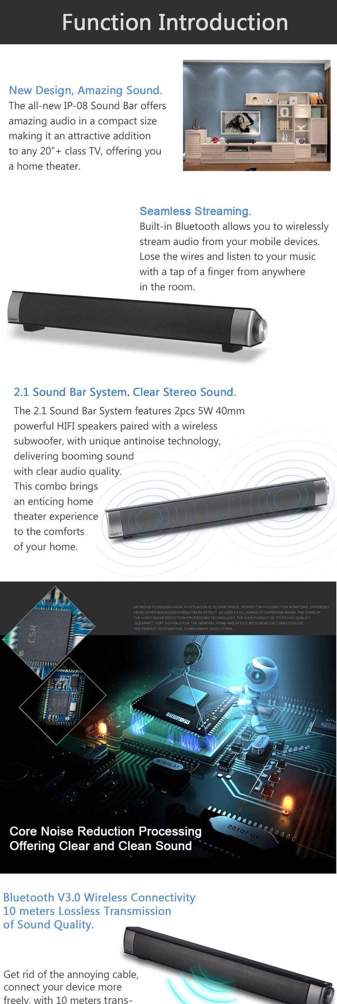 Generic Home Theater TV Soundbar Bluetooth Sound Bar Speaker