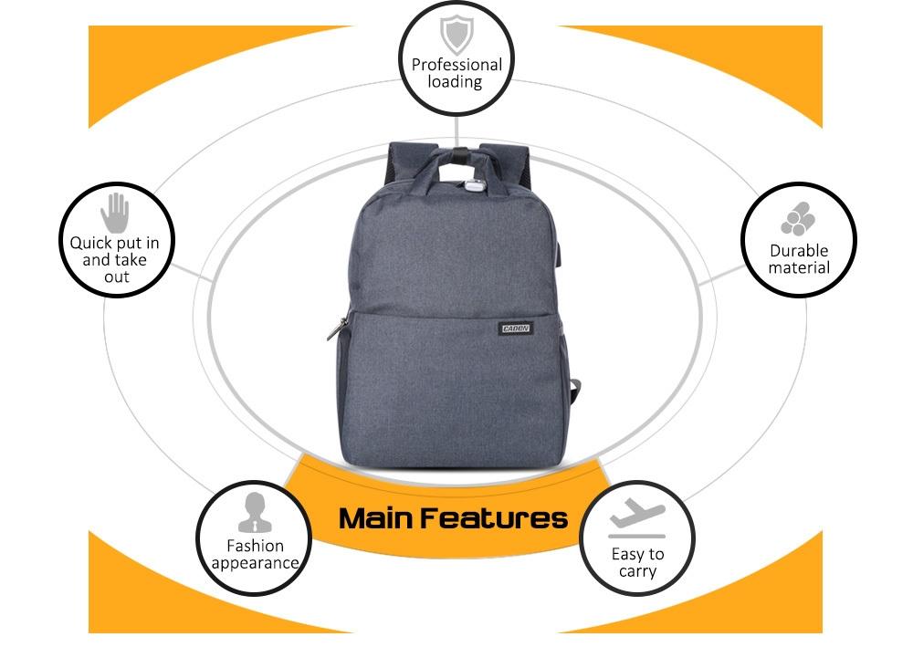 Caden L5 Large Capacity Camera Backpack with USB Charging Port for Digital SLR