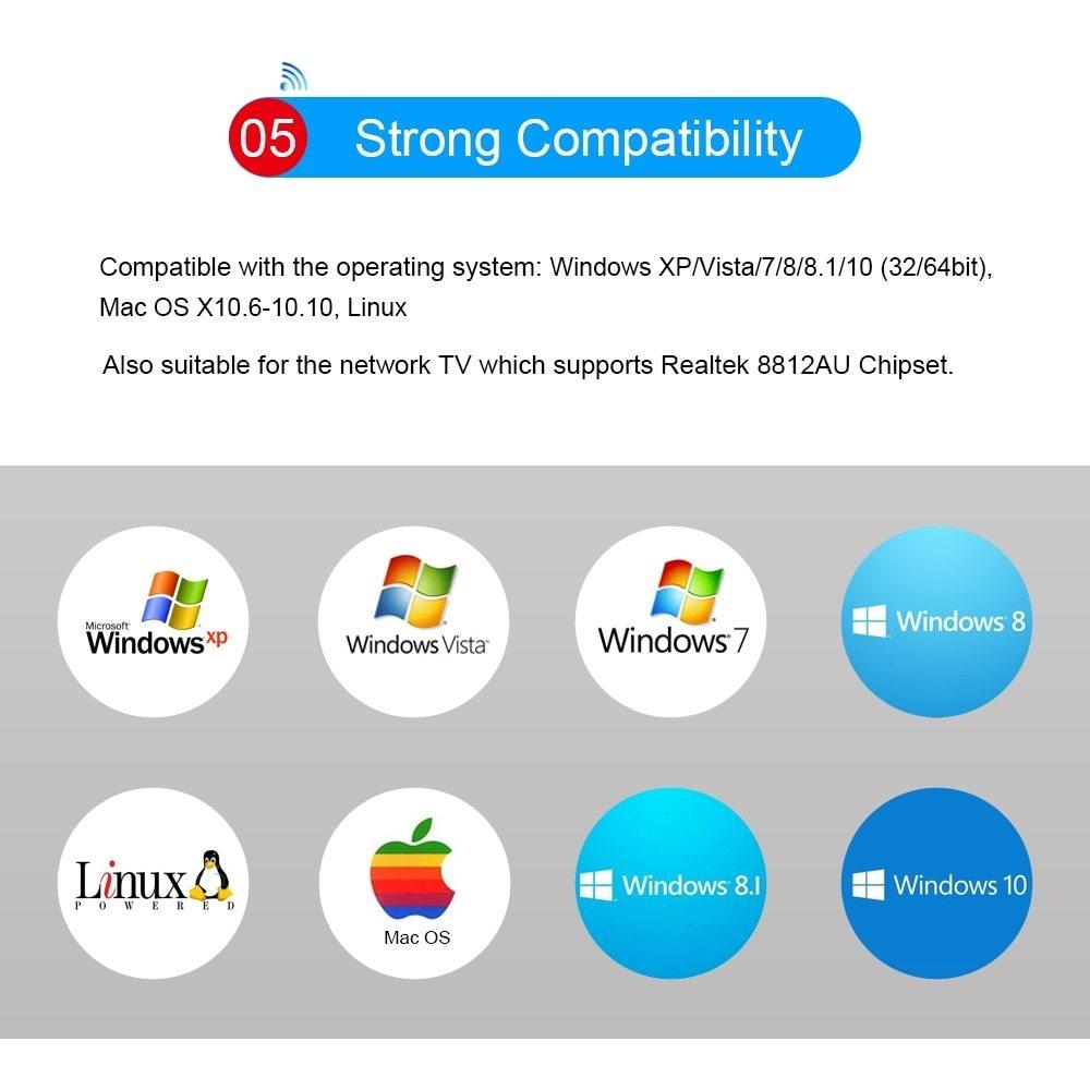 Generic 2 4GHz 5 0GHz 1200Mbps USB 3 0 WiFi Adapter External
