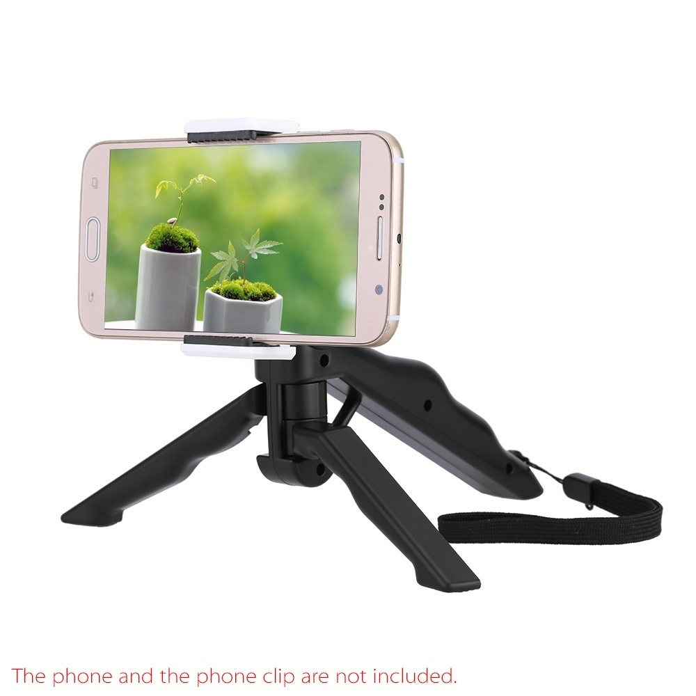 Generic Nice Andoer 2in1 Mini Portable Folding Table-top Tripod Stand + Handheld Grip for GoPro Hero 4/3+/3/2/1 DC DSLR SLR Camera and Smartphone Black