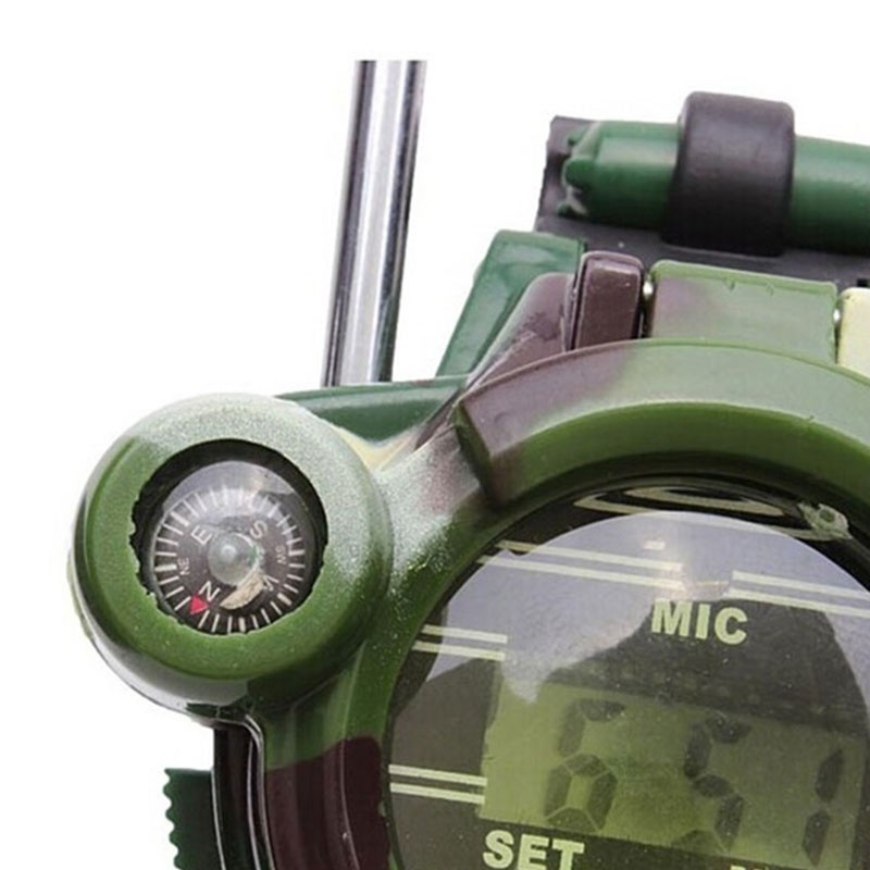 Features: intercom, watches, magnifying glass, night light, secret capsule, compass, mirror. Walkie talkie distance: open about 150M
