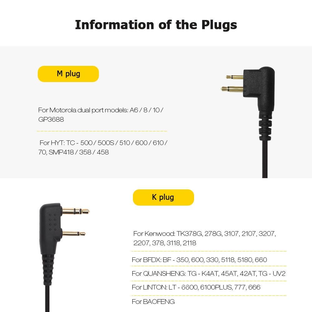 SH - HZ Walkie Talkie Headset Throat Vibration Earpiece 4 Types Plug