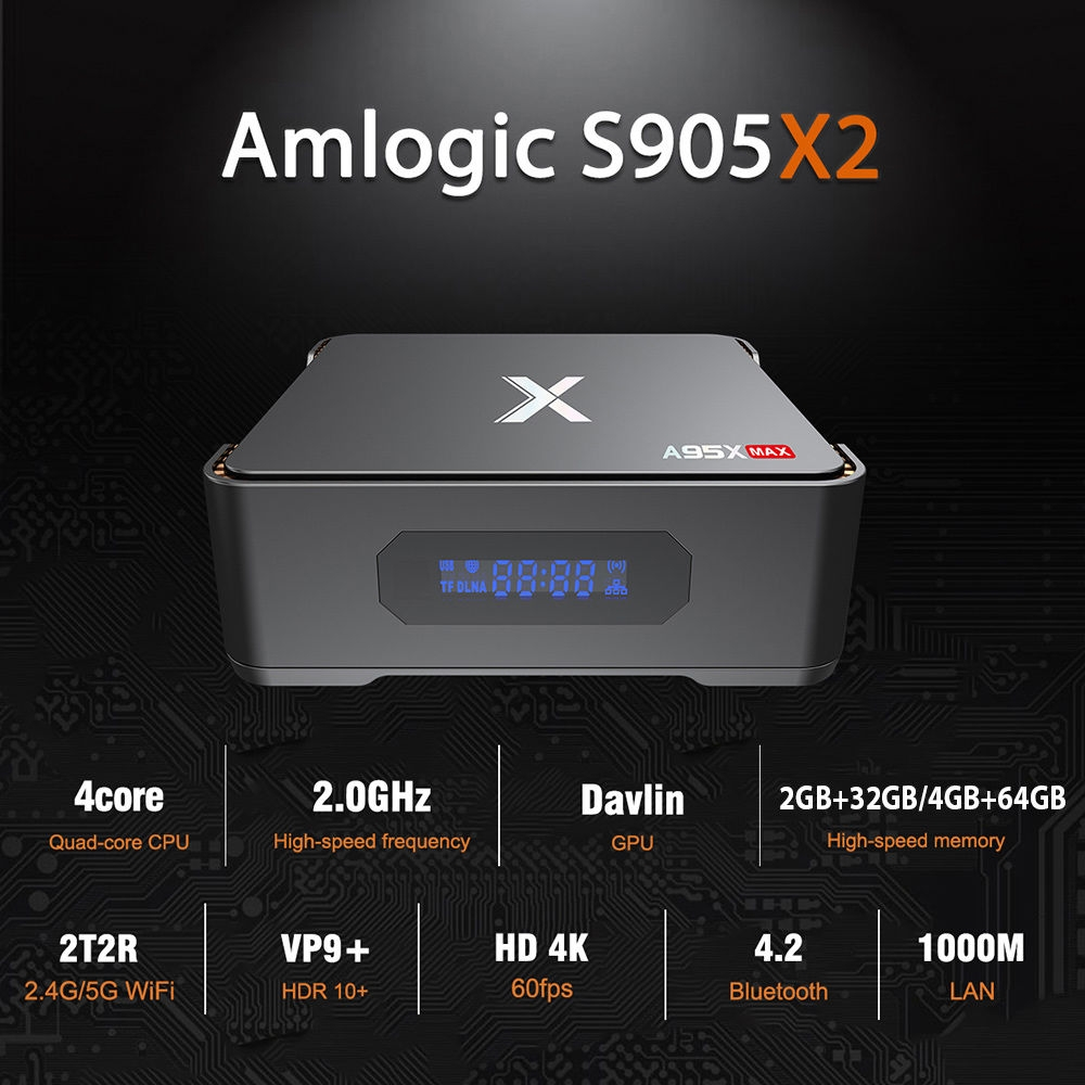 A95X Max TV Box Amlogic S905X2 / Android 8.1 / 2.4G + 5G WiFi / 1000Mbps / BT4.2 / Support 2.5 inch SSD / HDD