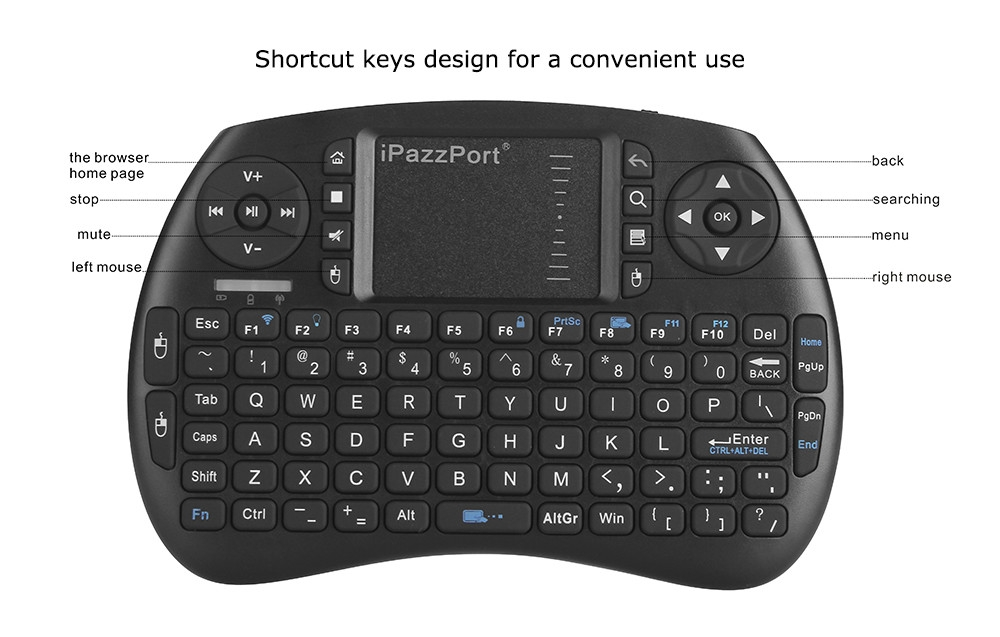 iPazzPort KP - 810 - 21BTL Wireless Bluetooth Hand-held Design Keyboard