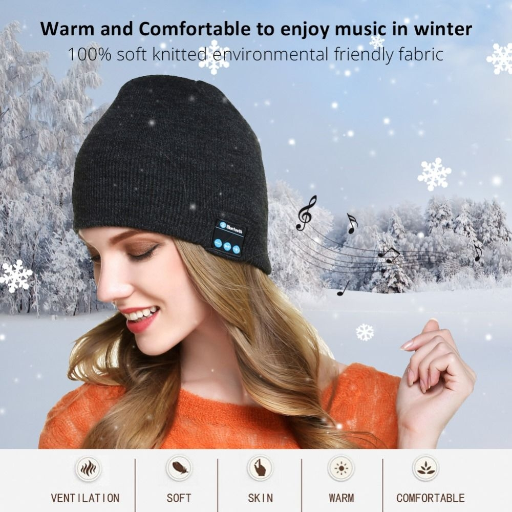 79db961fb Generic Bluetooth Headphone Winter Hat Warm Beanie Music Cap With ...