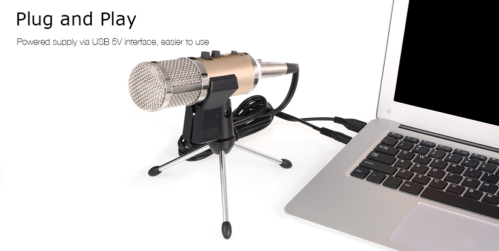 MK - F500TL Professional Condenser Microphone Cardioid Pattern with Shock Mount for Computer Mobile Phone